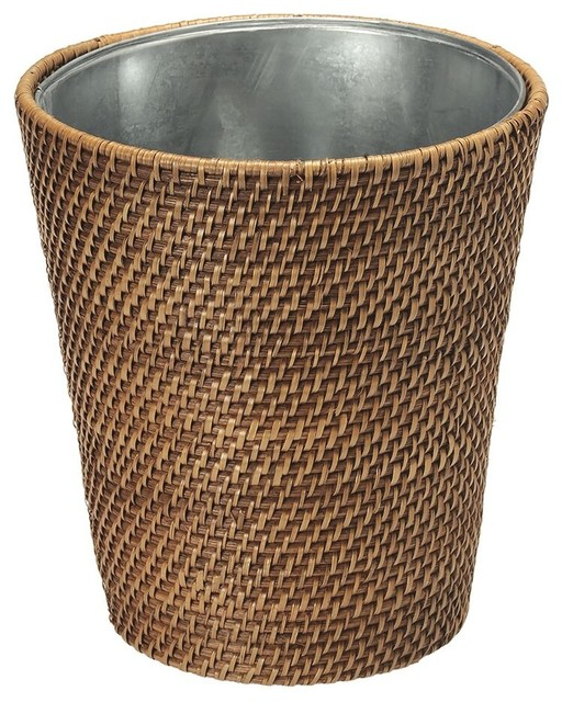 Laguna rattan waste basket with tin insert honey brown tropical wastebaskets by kouboo - Wicker trash basket ...