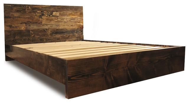 Platform Bed Frame And Headboard Set Modern Rustic Dark Walnut Twin