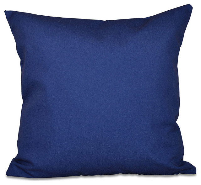 "Solid Color Decorative Pillow, Spring Navy, 20""x20""."