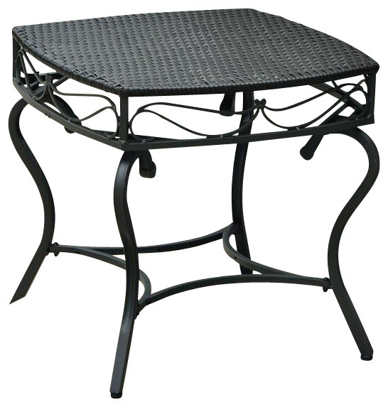 Wicker Resin Steel Patio Side Table In Black Antique Finish Contemporary Outdoor Tables By Ladder
