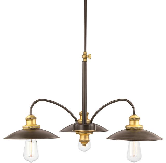 Progress Lighting Archives 3 Light Chandelier With Iron Shade Antique Bronze