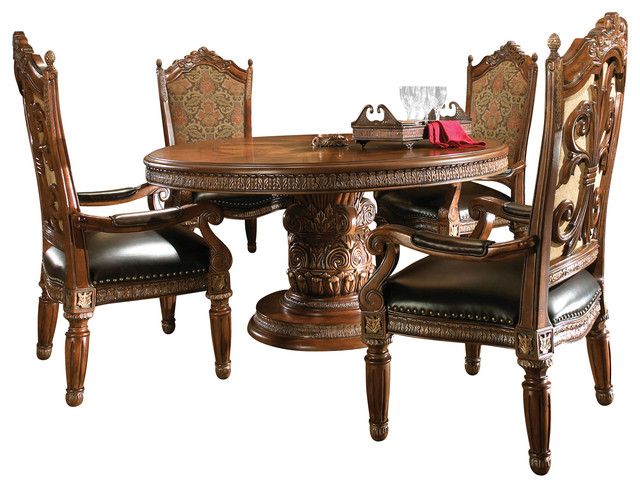 Villa Valencia Round Oval Dining Table And 4 Arm Chairs