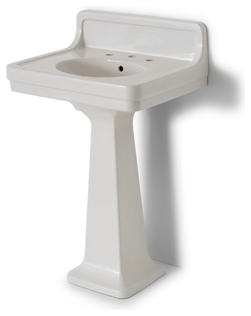 Alden Pedestal Sink with Backsplash | waterworks.com · More Info - Pedestal Sink?