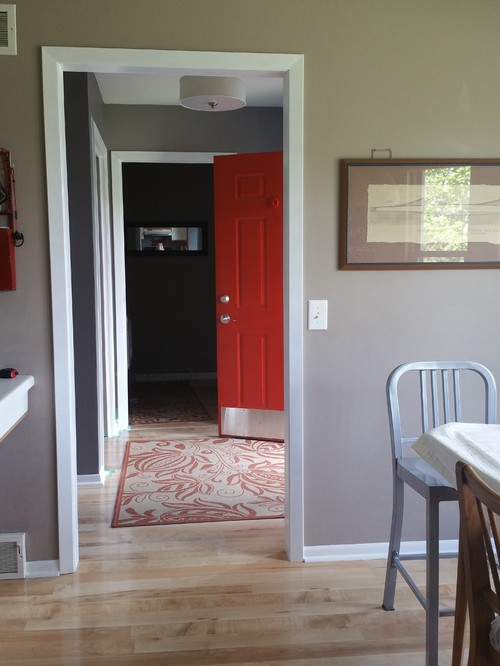 Paint inside of front door red or white.
