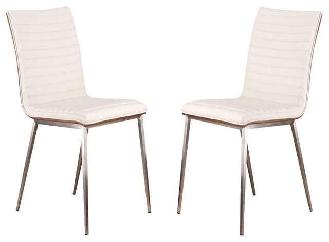 Armen Living Cafe Brushed Stainless Steel Dining Chairs With