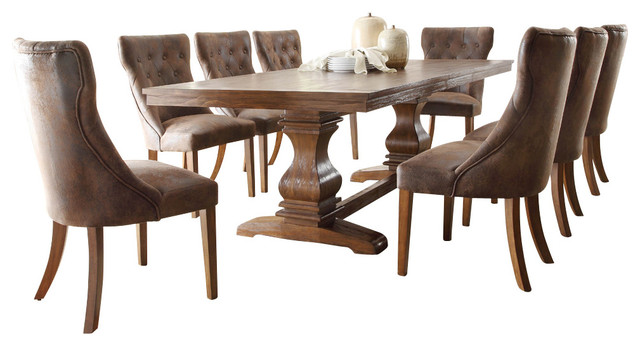 homelegance marie louise 9-piece dining room set, rustic brown