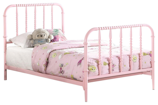 Kids Full Metal Bed, Pink.