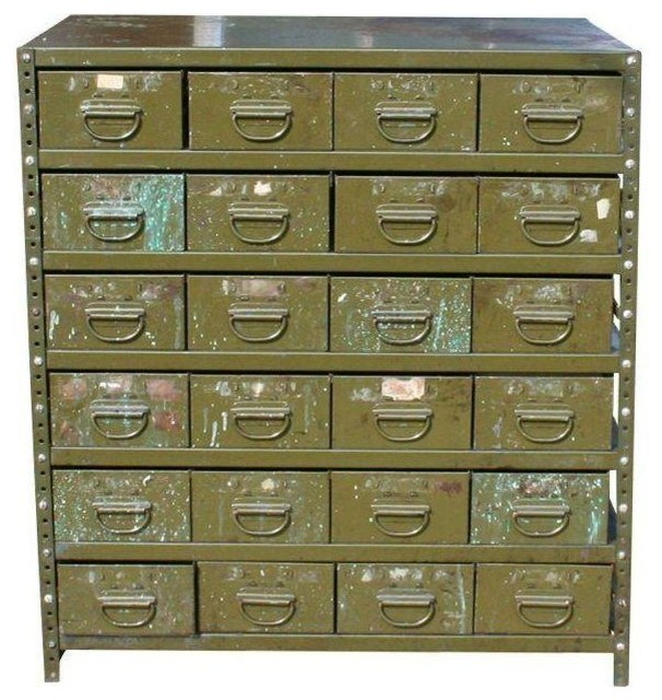 Green Industrial Multi-Drawer Cabinet - Industrial - Storage Cabinets - by Chairish