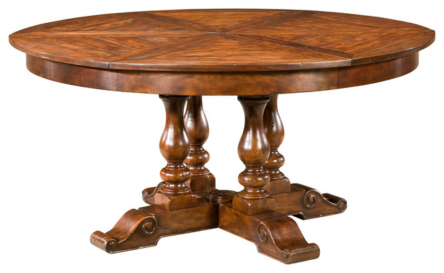 Antiqued Wood Circular Extending Dining Table