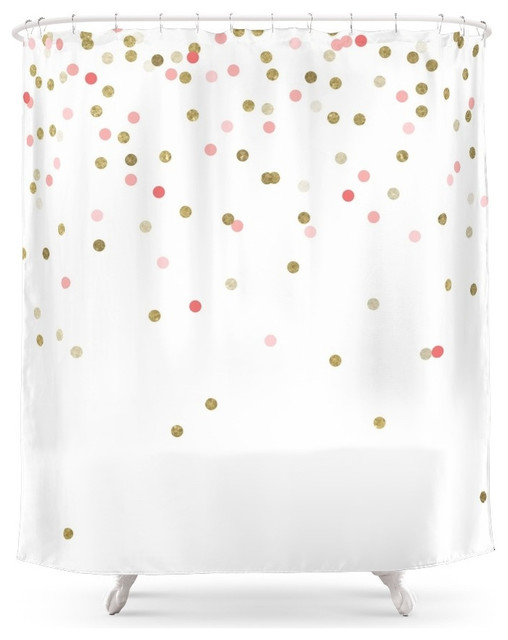 Gold and Pink Confetti Shower Curtain contemporary shower curtains  Contemporary
