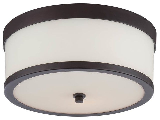2-Light Flush Fixture In Venetian Bronze Finish