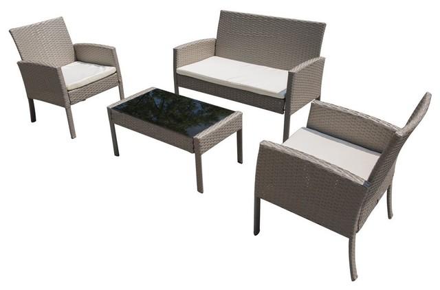 Outstanding Patio Furniture Sets Garden Lawn Outdoor 4 Piece Pe Wicker Rattan Sofa Set Home Interior And Landscaping Ologienasavecom