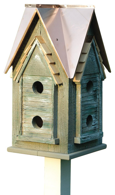 Copper Mansion Birdhouse With Copper Roof Rustic Birdhouses