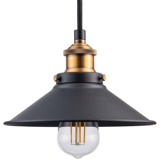 Andante Industrial Factory Pendant With Led Bulb, Antique Brass.