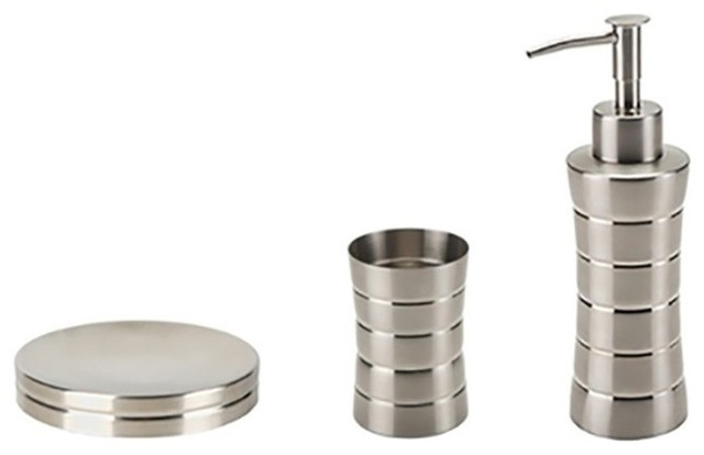 3 piece stainless steel accessory set in brushed nickel for Cream bathroom accessories set