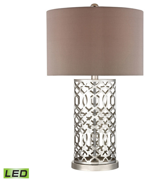 Laser Cut Metal Led Table Lamp, Polished Nickel.