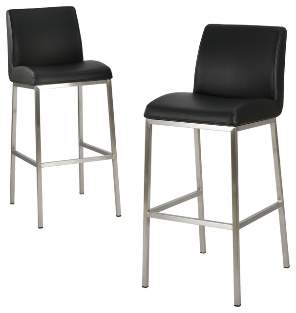 Jalen Leather Bar Stools Set of 2 Black contemporary-bar-stools-  sc 1 st  Houzz & Jalen Leather Bar Stools Set of 2 Black - Contemporary - Bar ... islam-shia.org