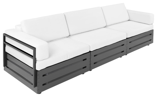 Slim Furniture S 3 Piece Full Size Sofa With Black Wood White Fabric Modern