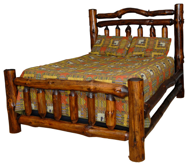 rustic pine log double rail queen size bed rustic beds by furniture barn usa. Black Bedroom Furniture Sets. Home Design Ideas