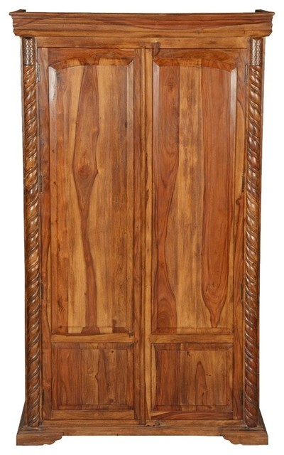 Empire Bedroom Rustic Solid Wood Large Armoire Wardrobe ...