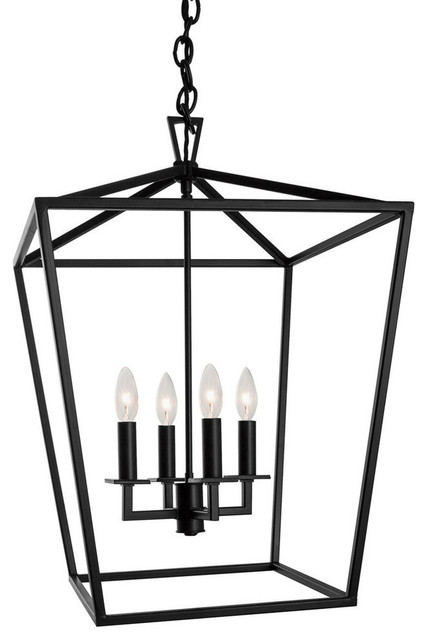 Cage Pendant, Bronze transitional-pendant-lighting