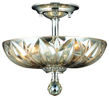 "Worldwide Lighting W33142c12-Gt Mansfield 3 Light 12"" Semi-Flush Ceiling Fixture."