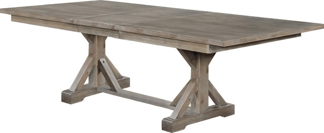 Hudson Weathered Extension Dining Table, Gray/Brown