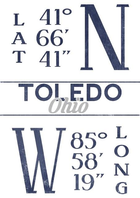 Quot Toledo Ohio Latitude And Longitude Blue Quot Print