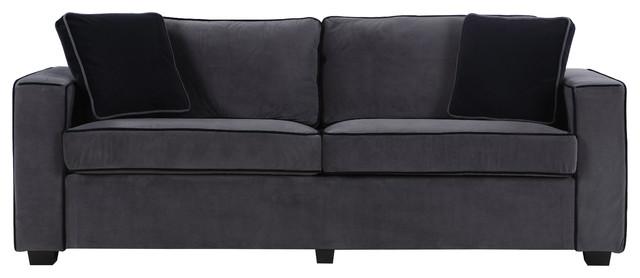 Modern Two Tone Colorful Velvet Fabric Living Room Sofa, Gray.