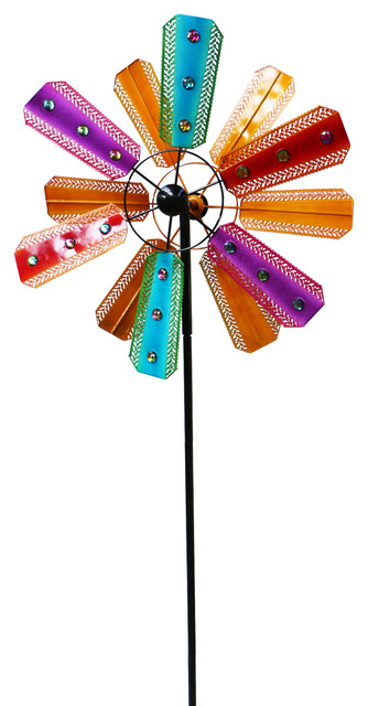 Alpine Colorful Kinetic Wind Spinner Garden Stake,Gems, 86 Inch Tall