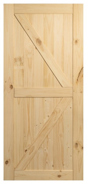 Sliding Single Barn Door Unfinished Knotty Pine No Rail