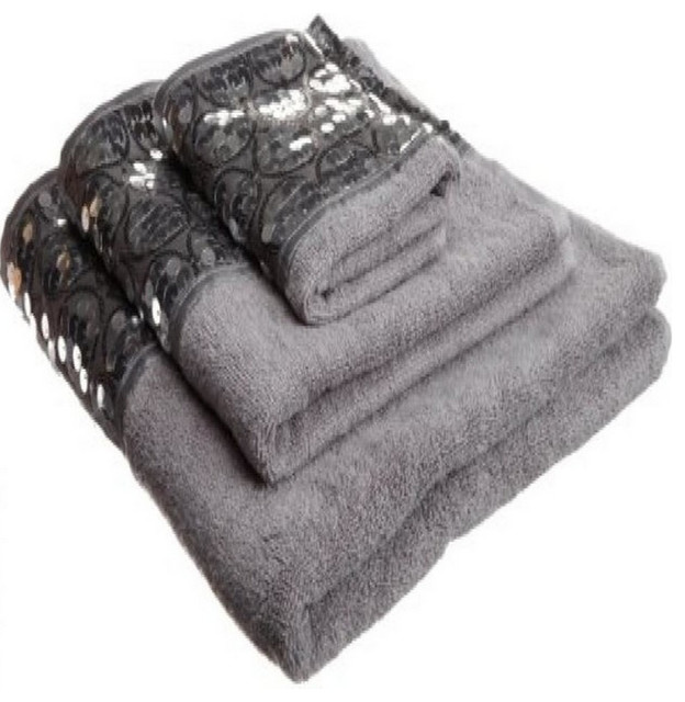 Sinatra Silver 3 Piece Bath Towel Hand And Wash Cloth Set With Sequins
