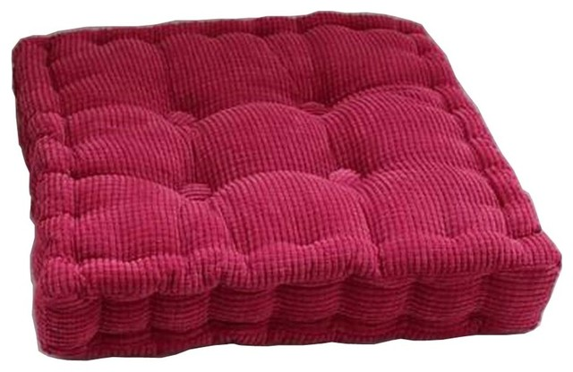 Rose Red Square Seat Cushion Floor Pillow Thickened Chair Pad