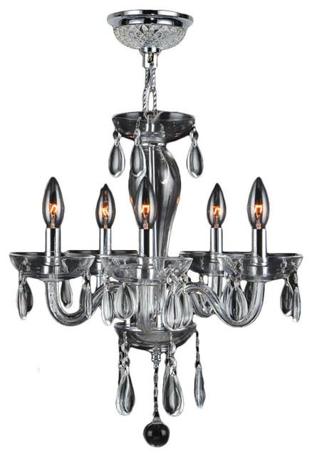 Worldwide Lighting Gatsby Collection 4 Light Chrome Finish and Golden Teak Blown Glass Chandelier 16 D x 18 H Mini