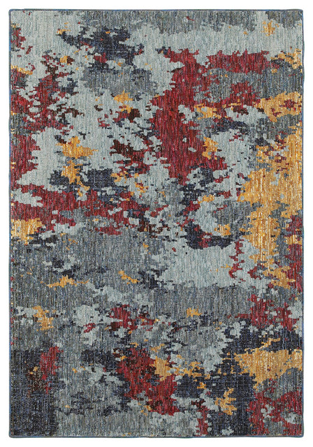 Oriental Weavers Evolution 8036c Blue Red Abstract Area Rug