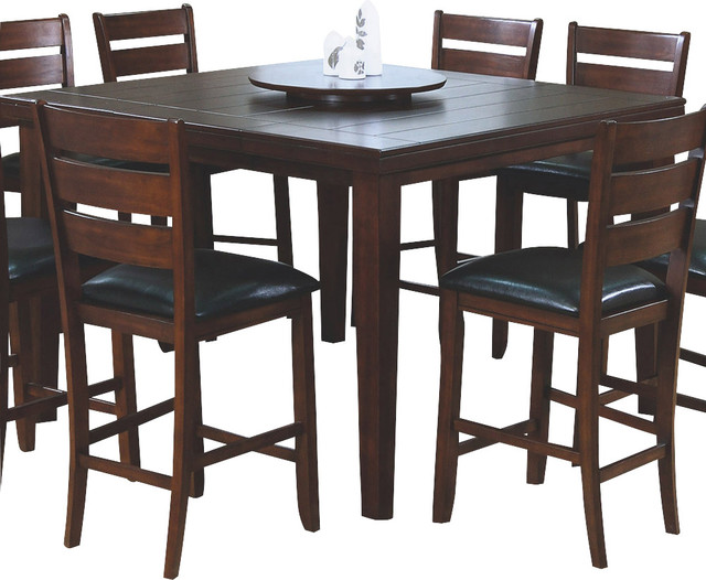 Monarch Specialties 1833 Square Pub Dining Table With Lazy Susan In Dark Oak Transitional