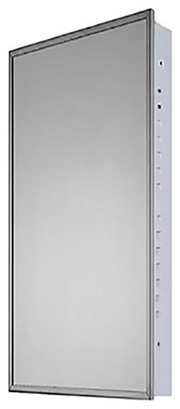 """Medicine Cabinet, 16""""x36"""", Bright Annealed Stainless Steel Frame, Flush Mounted"""