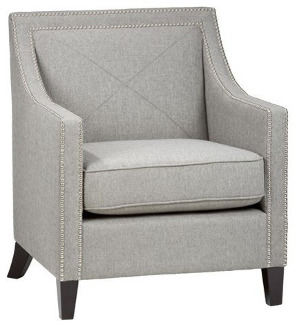 Accent Chair With Silver Nailheads, Ash Transitional Armchairs And Accent  Chairs