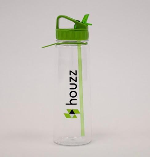 Houzz Water Bottle - Green Lid.