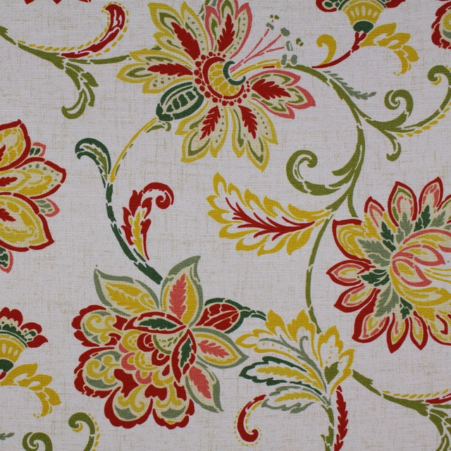 Garden Green Red Yellow Neutral Floral Print Upholstery