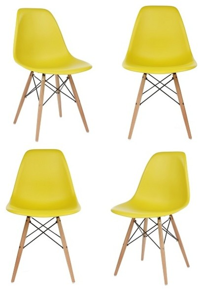 Dark Yellow Dsw Mid Century Modern Dining Shell Chair Beech Wood Eiffel Leg, Yel.