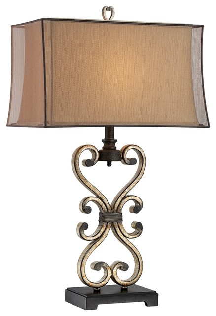 Traditional Possini Metal Scroll Double Box Shade Table Lamp
