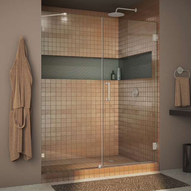 DreamLine UnidoorLux 59 Frameless Hinged Shower Door, Brushed Nickel Finish by DreamLine