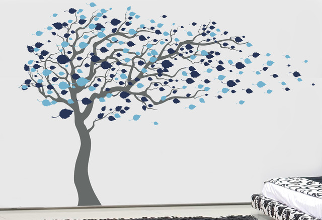 Tree Blowing In The Wind, Wall Decal, Ice Blue/dark Blue.