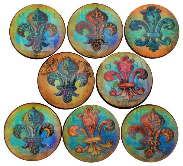 Copper Fleur De Lis Cabinet Knobs, 8 Piece Set Traditional Cabinet And