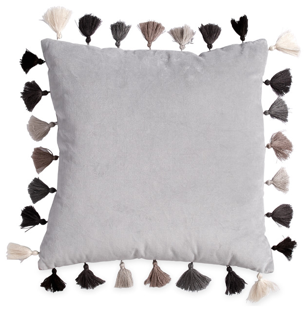 Velvet Tassel Square Throw Pillow, Gray - Contemporary - Decorative Pillows - by CHF Industries
