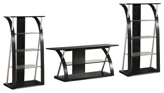 3 piece entertainment center tv stand console media glass shelf set black - Glass Entertainment Center
