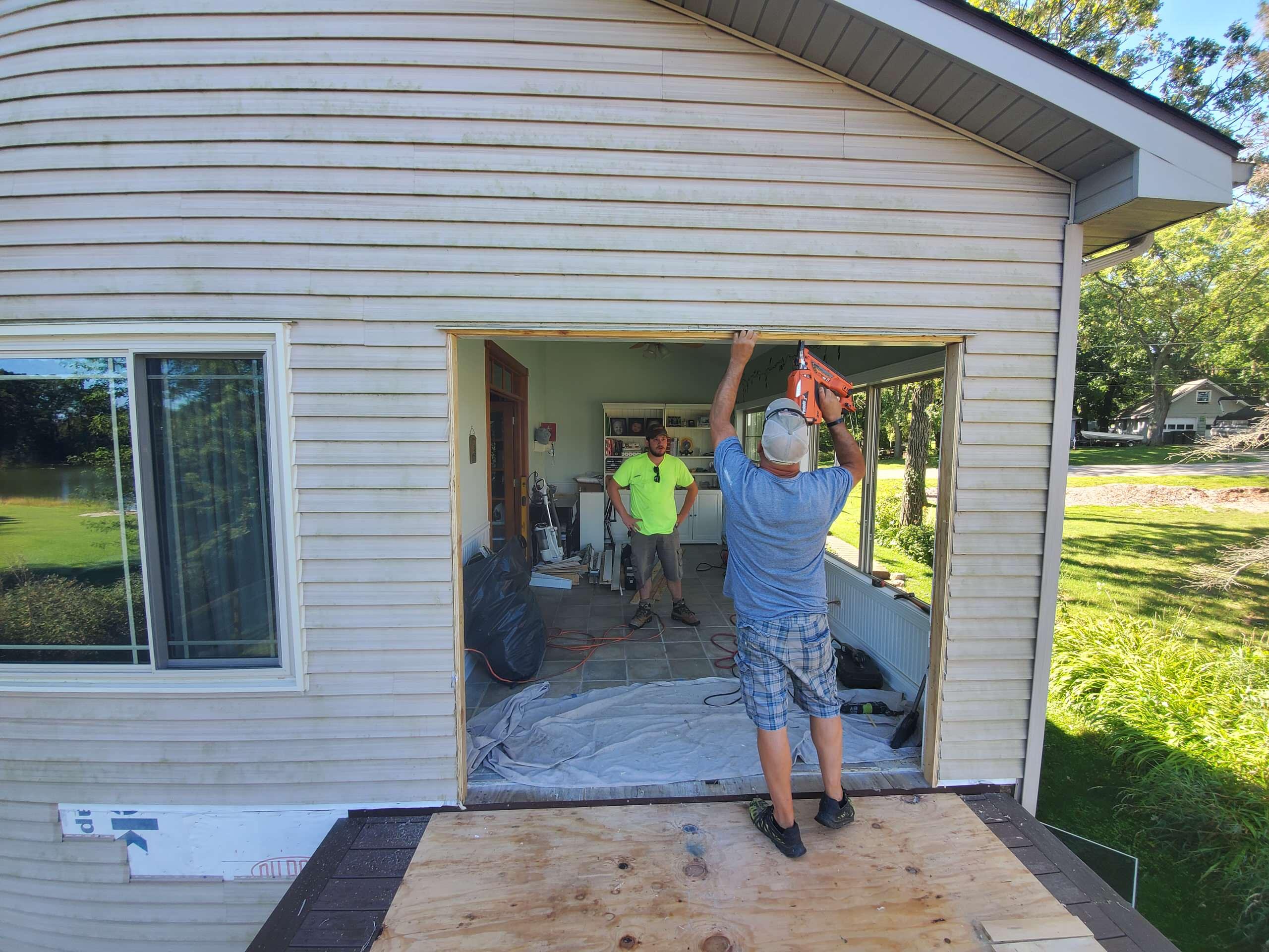 Composite deck sliding glass door prep