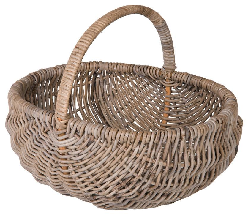 Grey Color High Handle Wicker Shopping Baskets Gift Hamper