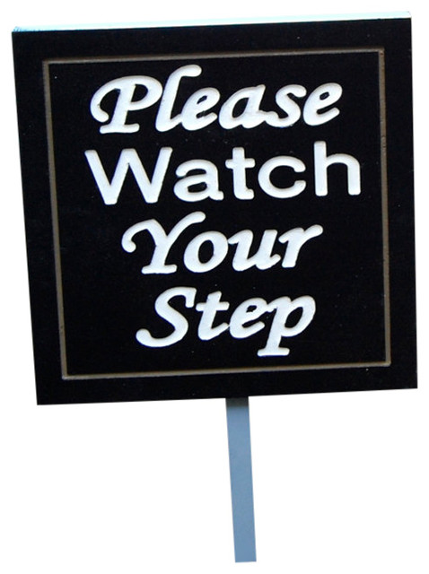 please watch your step stake sign outdoor wall art by